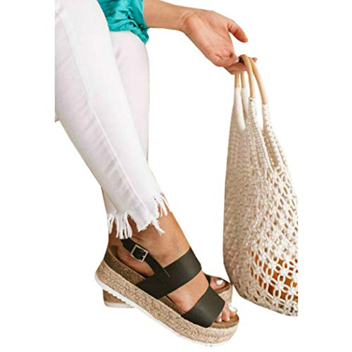 Print Braided Strap Dress - LAICIGO Womens Open Toe Espadrille Ankle Strap Boho Lace Up Rivet Flatform Sandals