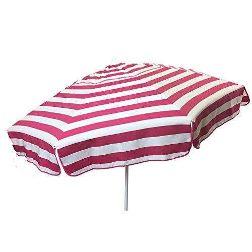 Heininger 1330 DestinationGear Italian Pink and White 6 Acrylic Striped Beach Pole Umbrella