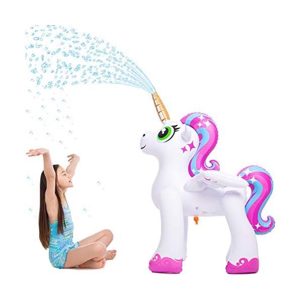 JOYIN Inflatable Unicorn Yard Sprinkler, Alicorn/ Pegasus Lawn Sprinkler for Kids 5