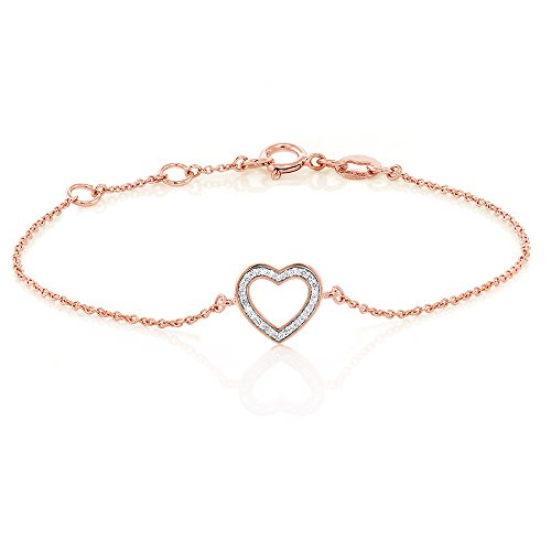 Solid 18K Rose Gold White Diamond 0.2 Inch Open Heart Bracelet Fits Wrist Up To 6.5 Inches