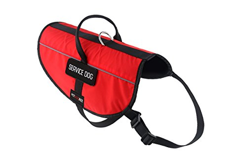 Petdogree Lightweight Reflective Red Service Dog Vest/Harness with Handle and Removable Patches (Multiple Sizes).