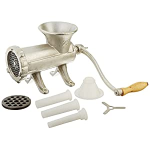 Weston #22 Manual Tinned Meat Grinder and Sausage Stuffer (36-2201-W), 2 plate sizes, 3 sausage funnels