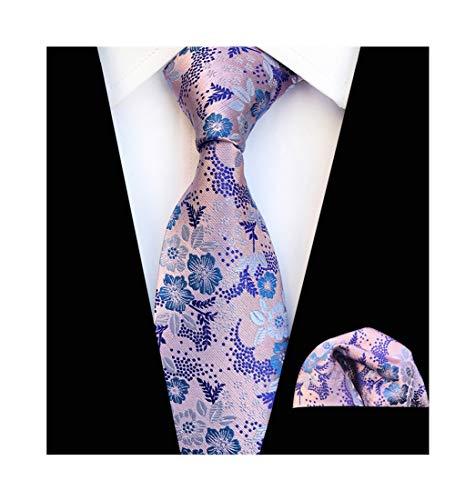 Mens Pink Blue Silk Tie Summer Cool Gentleman Party Jacquard Self Cravat Necktie