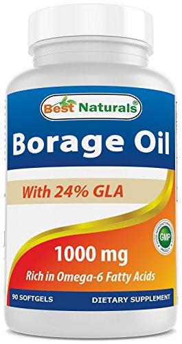 Best Naturals Borage Oil 1000 mg 90 Softgels - 24% GLA promotes healthy skin, metabolic & cellular health* (Borage Seed Oil Capsule)
