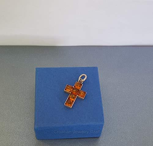 (Natural Amber Cross Pendant, Sterling Silver Cross, Amber Pendant, Simple Cross, Spiritual Jewelry *Exp)