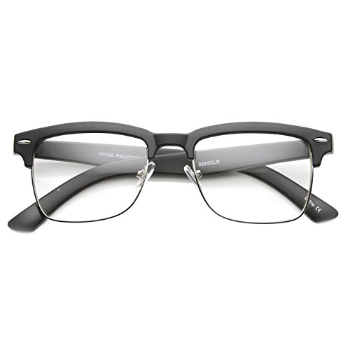 zeroUV - Classic Square Half Frame Dapper Fashion Horn Rimmed Glasses (Matte Black-Silver / Clear)