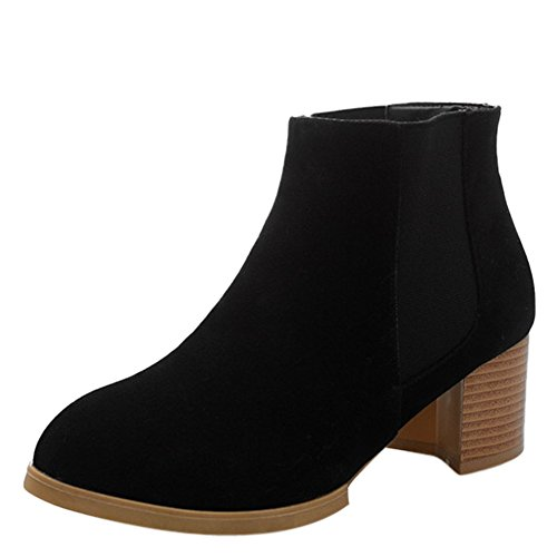 fereshte Womens Ladies Pull On Low Heel Ankle Shoes Boots Black RdWoFVAKbA