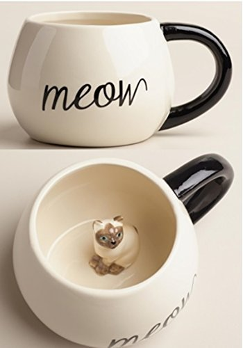 e Animal Mug – Comes with a Meow Little Kitten Inside | Novelty Coffee Mug for Coffee & Cat Lovers | Hot & Cold, Tea, Milk, Coffee | Decorations for Wildlife Event, 17 Ounce ()