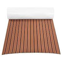 GOTOTOP Non-Slip Boat Flooring Decking Pad (35in x 94in x 0.24in), EVA Foam Faux Teak Marine Fit for Yacht (Dark Brown)