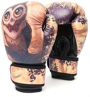 HUYYA レザー ボクシンググローブ、ボクシングテコンドーフィットネスムエタイ土嚢手袋の小パンチングミット 重いバッグ手袋,Owl_6oz