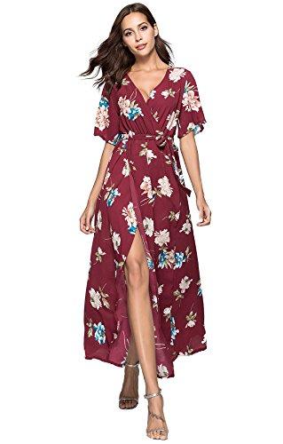 Chiffon Floral Wrap (Escalier Women's Summer Floral Print Faux Wrap Maxi Long Dresses with Belt)