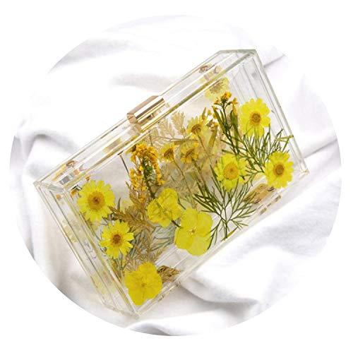 (New Acrylic Transparent Bags Women Clutch Chain Evening Flower Handbag Clear Purse Box See Through Crossbody Bag)