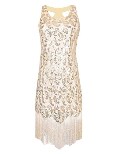 PrettyGuide Women's 1920s Sequin Paisley Racer Back Tassels Flapper Cocktail Dress – Small, Beige