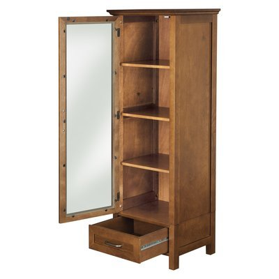 Elegant Practical Linen Tower, Wood Construction, Ample Storage Space, Tempered Glass Door, Oil Oak Finish by Jaxterrific (Image #4)