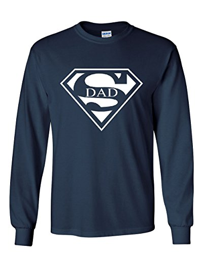 Super Dad Long Sleeve T-Shirt Funny Superhero Father's Day Navy Blue ()