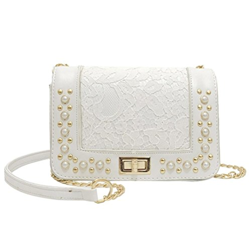 YJYDADA Bag,Fashion Women Pearl Leather Crossbody Bag Coin Bag Phone Bag Shoulder Bag (White) from YJYDADA