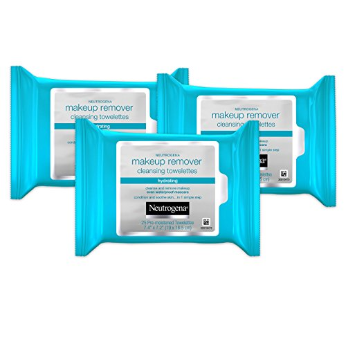 Price comparison product image Neutrogena Hydrating Makeup Remover Facial Cleansing Wipes, Value Pack 25 Count, (Pack of 3)