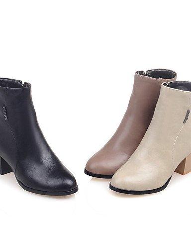 XZZ/ Damen-Stiefel-Kleid-Kunstleder-Blockabsatz-Spitzschuh / Modische Stiefel-Schwarz / Beige / Mandelfarben black-us8.5 / eu39 / uk6.5 / cn40