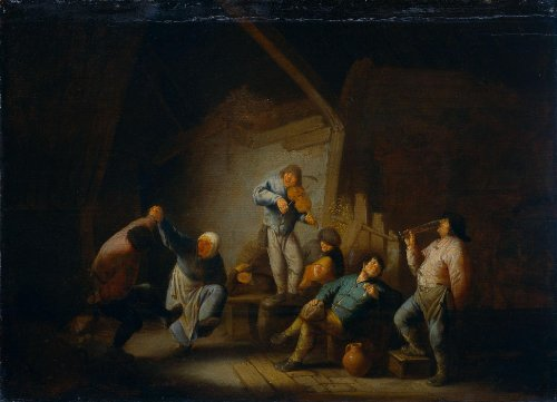 Artisoo Dancing Couple and Merry Company in an Interior - Oil painting reproduction 30'' x 22'' - Adriaen van Ostade
