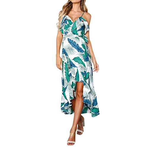 Mini Leaves Printing Sleeveless Beach Dress (Combo Maple Bed)