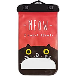 Gentle Meow Dibujos Animados Impermeables a Prueba de Agua Colgando Impermeable Bolsa de natación Gato,Rojo
