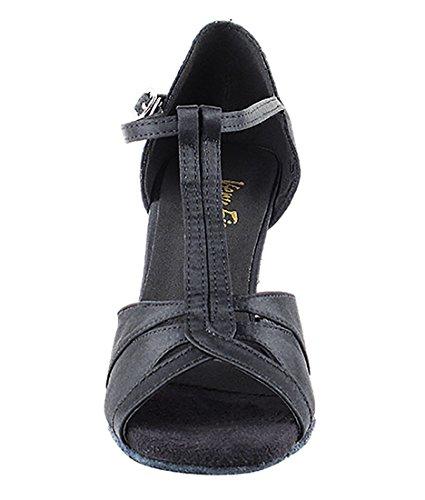 Very Fine Ballroom Latin Tango Salsa Zapatos De Baile Para Mujer 1703 3 Pulgadas Heel + Cepillo Plegable Bundle Black Satin