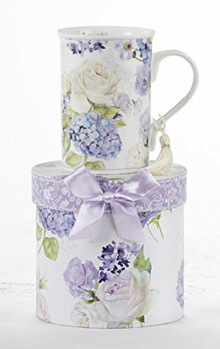 Porcelain Tea / Coffee Mug in Gift Box -Purple Hydrangea