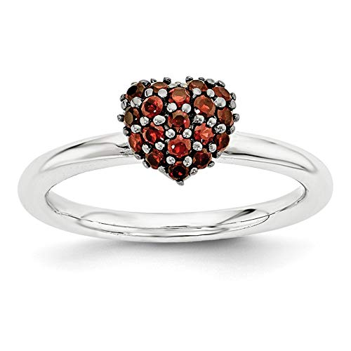 (925 Sterling Silver Rhodium-plated Garnet Heart Ring Band Size 5 by Stackable Expressions)