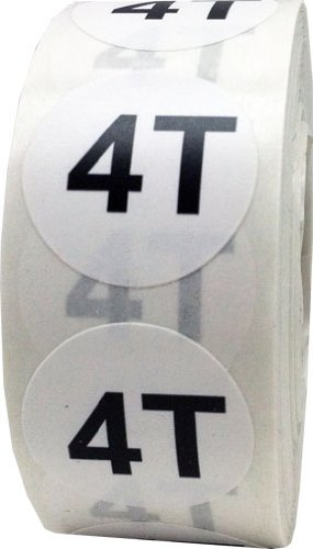 White Round Toddler Clothing Size Stickers 4T - Adhesive Labels for Apparel Retail - 500 Total