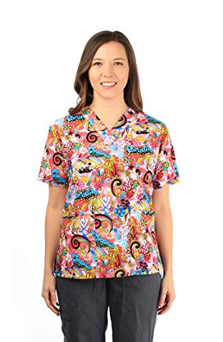 - Made in Hawaii Hawaiian Print Cotton 2 Pockets Scrub Top in Paradise Rianbow Waves M