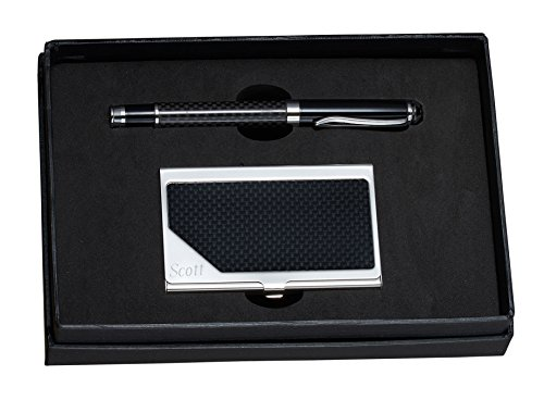Personalized Carbon Fiber Ball-point Pen and Business Card Holder Gift Set ()