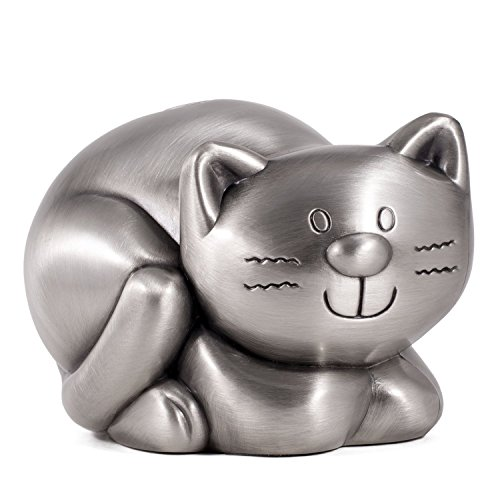 Pewter Plated Finish Kitty Cat Coin Savings Bank