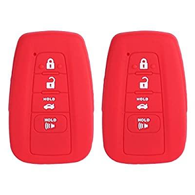 2Pcs XUHANG Sillicone key fob Skin key Cover Remote Case Protector Shell for 2020 Toyota Camry Smart Remote red: Automotive