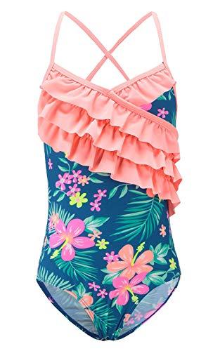 Funnycokid Girls One Piece Swimsuits Ruffle Swimwear Hawaiian Floral Bathing Suit
