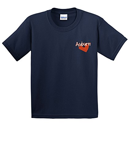 NCAA Auburn Tigers Girls Patterned Heart Short Sleeve Cotton T-Shirt, Youth Large,Navy