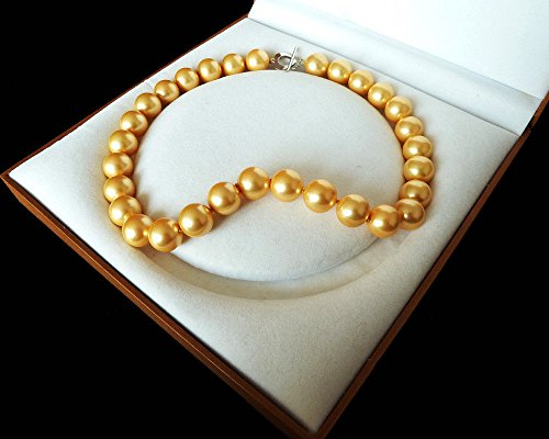 Golden Rare Huge 12mm Genuine South Sea Shell Pearl Necklace Heart Clasp 18'' (Sea Shell Clasp)