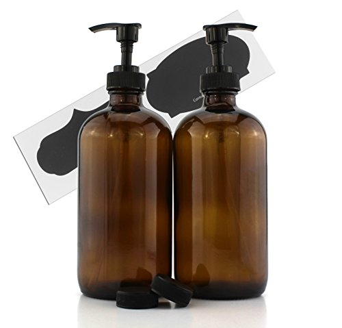 16-Ounce Amber Glass Bottles w/Pump Dispensers (2-Pack); Refillable Lotion Liquid Soap Pump Brown Bottles + Chalk Labels & Lids, BPA-Free Plastic Tops