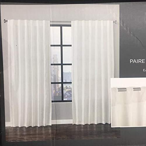 (Vera Wang Edge Stitch Light Grey/Ivory White Back Tab Window Panel Set of 2-52 x 84)
