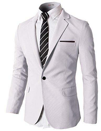 (H2H Mens Slim Fit Single One Button Blazer Jackets with Pocketchief Trim WHITE US S/Asia M)
