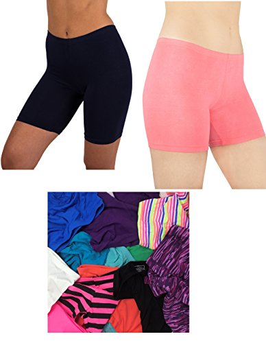 Sexy Basics Women's 12 Pack Cotton Stretch Light Weight Bike Shorts & Yoga Boxer Briefs (SMALL /5, 12 PK-Assorted Colors) (Spandex Sheer Boxers)