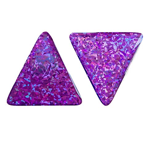 Domed Triangle Purple Reflective Decals Violet Glitter Night Gloss 3D Gel Rear Resin Motorcycle Sticker Badge Reflector Bike Bicycle Car Helmet Trunk Tailgate Self Adhesive Tri Angle