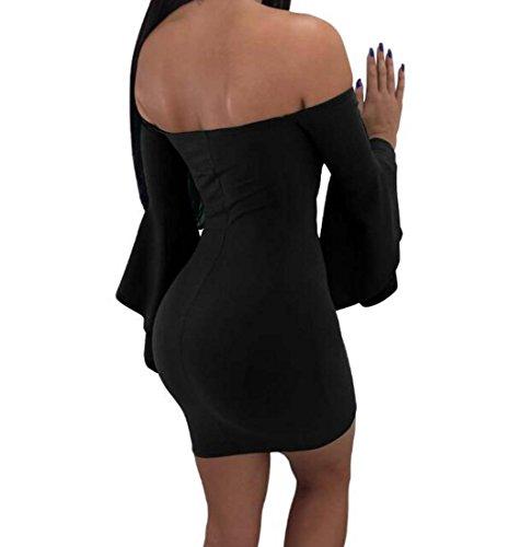 tamaño de Atractivas Mangas HEFEI Envoltura Fiesta S Las de Cuello XIAOXIAO del Vestido la Coctel del de la de Color V Trabajo de Negro Las Mujeres O6yUOwfqS