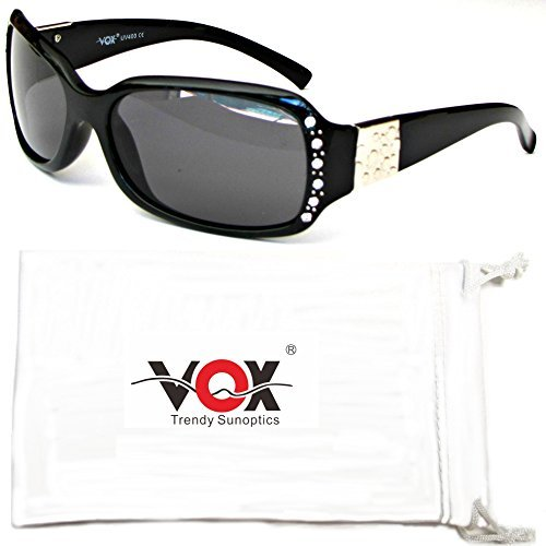 Vox Women's Polarized Sunglasses Designer Fashion Rhinestone Eyewear Free Microfiber Pouch – Black Frame - Smoke - Fake Chanel Sunglasses