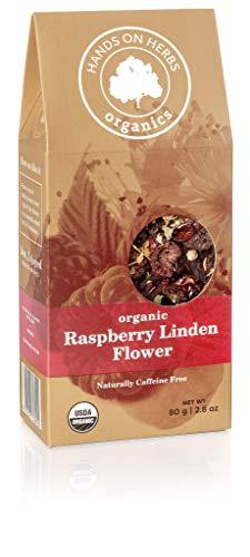 Hands on Herbs Organics Raspberry Linden flower Tea   Sweet Organic Raspberry Fruit with Fragrant Linden Flower   Cold Season Care Herbal Tea 2.8 ounces   80 grams