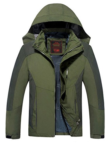 YOOKOON Men's Outdoor Mountain Ski Jacket Single Layer Windproof Bomber Jacket (3XL, Dark green)