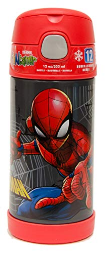 Thermos FUNtainer 12 Ounce Stainless Steel Straw Bottle, Spiderman Homecoming
