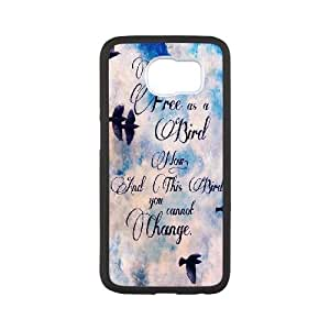 Hzeoa Unique Design Cases Samsung Galaxy S6 Cell Phone Case Be Free Birds Cute Quote Printed Cover Protector