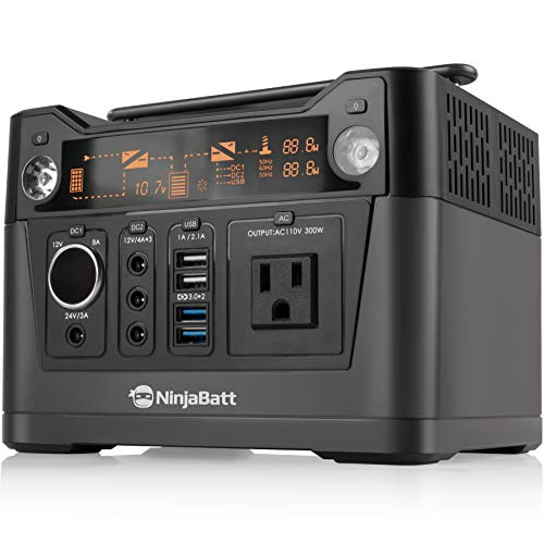 NinjaBatt Portable Power Station with 288Wh Lithium Battery, 110V/300W AC Outlet & 4 X USB, 3 X 12V/24V DC Ports & LED Flashlight, Power Supply for Home Outdoor Camping Fishing or Emergencies