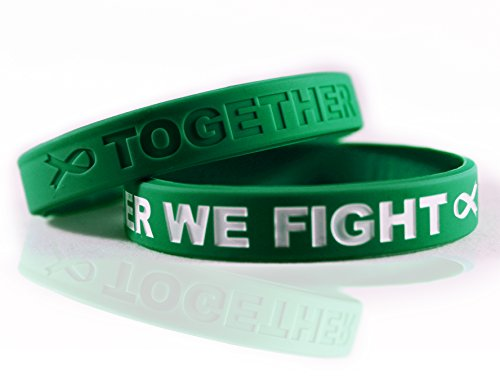Cancer & Cause Awareness Bracelets With Saying TOGETHER WE FIGHT, Gift for Patients, Survivors, Family and Friends, Set of 2 Ribbon Silicone Rubber Wristbands for All (Liver Cancer Green)