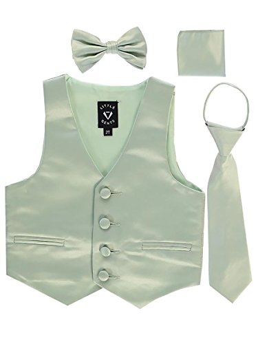 Neckties Sage - Sage Little Boys 4 Piece Formal Satin Vest Set Zipper Tie Bowtie Hanky 4T